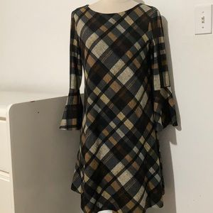 ⭐️JH Plaid Longsleeves Midi Flare Dress S⭐️